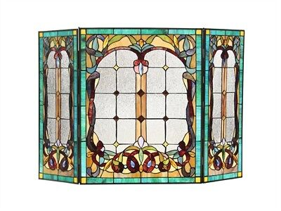 Stained Glass Fireplace Screen Victorian Design Tiffany Style