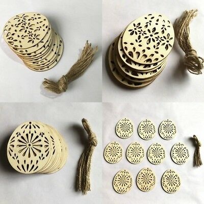 10pcs DIY Easter Egg Wood Hanging Pendant Hollow Chip Craft Ornament Party Decor