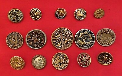 "Collection of 15 VICTORIAN ANTIQUE METAL BIRD PICTURE  BUTTONS 5/8""- 1 7/8"""