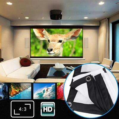 60-120'' 3D HD 4:3 Front & Back Projection Screen Curtains Film Rear Projector