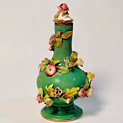 Antique Meissen Style flower encrusted perfume scent bottle and lid,19 Century