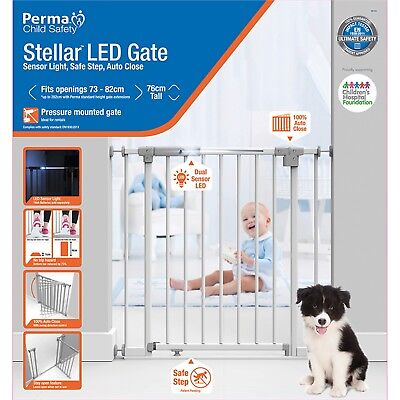Child Safety Smart Barrier Gate® LED Sensor Light Auto Close Baby Pressure Mount