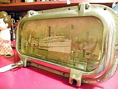 Vintage Nautical Antique Chrome Over Bronze Porthole~Steampunk Picture Frame