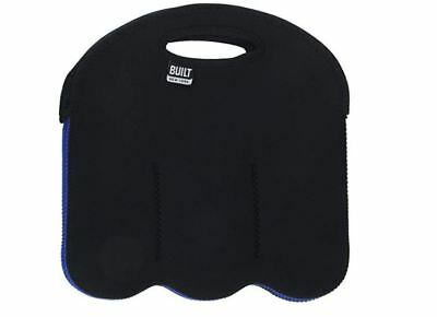 BUILT NY Six Pack Insulated Neoprene can or  Bottle Tote, Black and Blue.