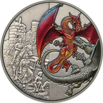 2019 Niue 5$ RED DRAGON Dragons 2 Oz Silver Coin