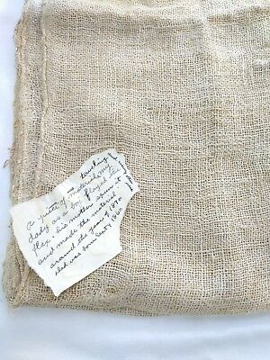 Antique 19th Century Continuous Towel Homespun Flax Fabric 1800s With Note