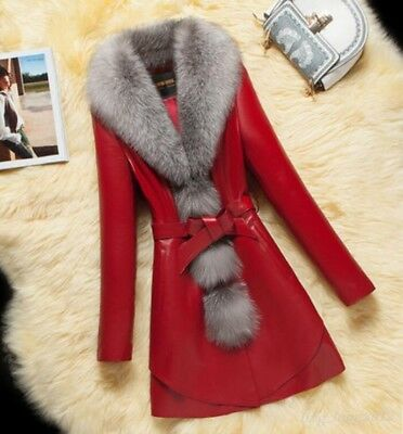 Chic Women Real Fox Fur Luxury 100% Sheepskin Leather Warm Thick Long Coat Parka
