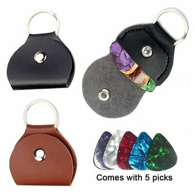 Bass Ukulele Guitar Plectrum Pick Holder Case Keyring Bag with 5 Assorted Picks