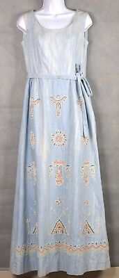 Vintage Native American Hand Beaded Art Long Dress Size 10 RN# 44253