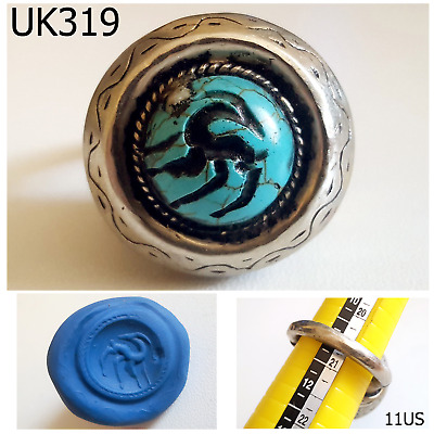 Mongol Turquoise Stone Islamic Intaglio Deer Silver Ring Us Size 11US #UK319a
