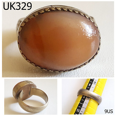 Vintage Greek Roman Style Carnelian Agate Bronze Ring Size 9US #UK329a