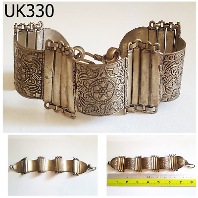 Tribal Marriage Kuchi Vintage Jewelry Floral SilverMix Filigree Bracelet #UK330a