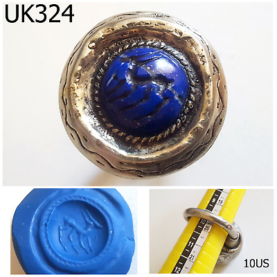 Mongol Lapis Stone Islamic Intaglio Deer Silver Mix Ring Us Size 10 US #UK324a