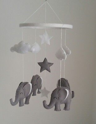 White and grey elephant mobile -nursery mobile, monochrome colours baby mobile