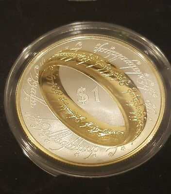 New Zealand 2003  Proof LORD OF THE RING Silver $1 Gold Plated