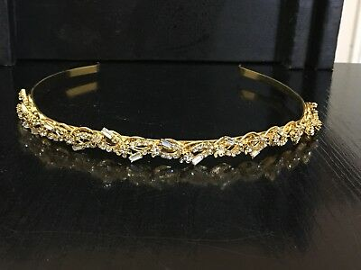 Wedding Bridal Party Headband in Gold Colour with Sparkling Rhinestones