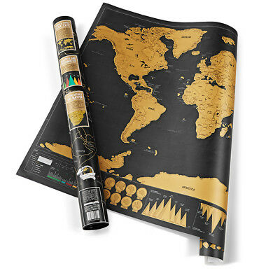 Scratch Off World Map Deluxe Edition Travel Log Journal Poster Wall Decor OR
