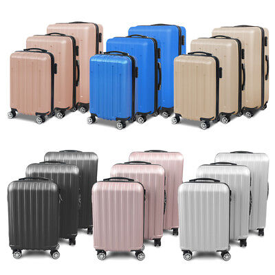 """3 PCS Luggage Set 20"""" 24"""" 28"""" Trolley Spinner Rolling Travel Suitcase 6 Colors"""