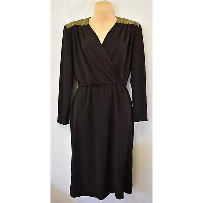 Vintage Paco Sydney Black Gold Evening Party Dress Size 8 Long Sleeve 1980s 80s