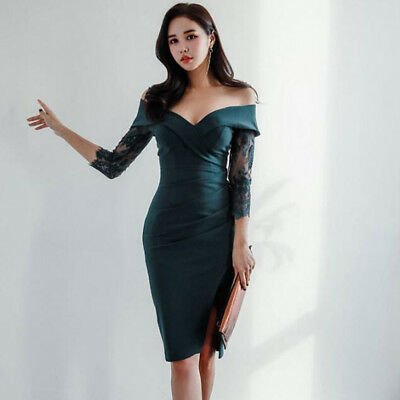 Sexy Women's Elegant boat neck Bodycon Party Mini Evening Cocktail Dress Lace