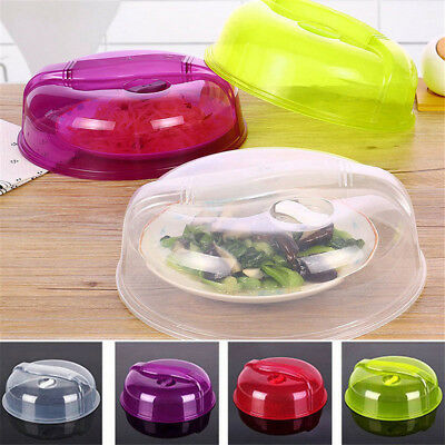 """Plastic Microwave Plate Cover Clear Steam Vent Splatter top Lid 10.25"""" Food Dish"""