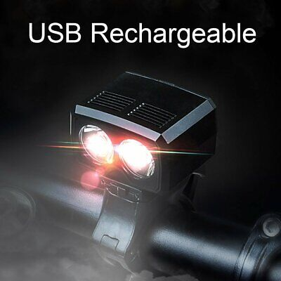 USB Rechargeable Road Mountain Bike Cycle T6 LED Front Head Light w/ Mount Cable