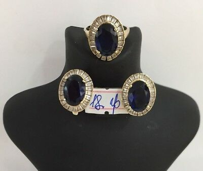 925 Sterling Silver Jewelry Blue Sapphire Ladies Earring and Ring Set