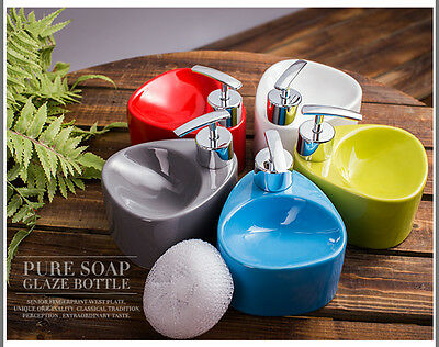 European Ceramic Bathroom Soap Liquid Dispenser Pump Sponge Caddy Scrubby Holder