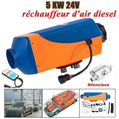24V 5KW Diesel Air Heater Voiture Chauffage Pour Camping-car Camions RV+Silencer