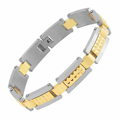 Men's Pyramid Two-Tone Link Bracelet in Stainless Steel, 9""