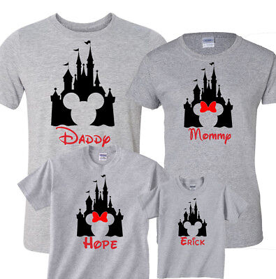 Disney Vacation Personalized Family Gray Shirts, Disney Castle with Custom Names