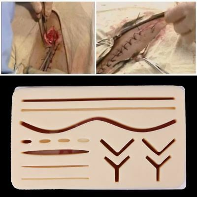 Silicone Human Traumatic Skin Suture Training Practice Pad Model Tool Kits New