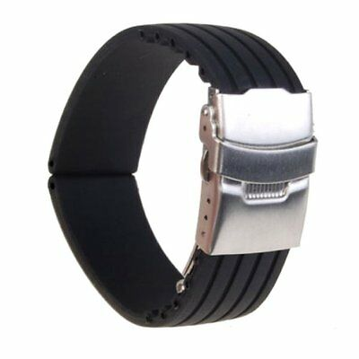 Black Silicone Rubber Watch Strap Band Deployment Buckle Waterproof 18 20 24mm