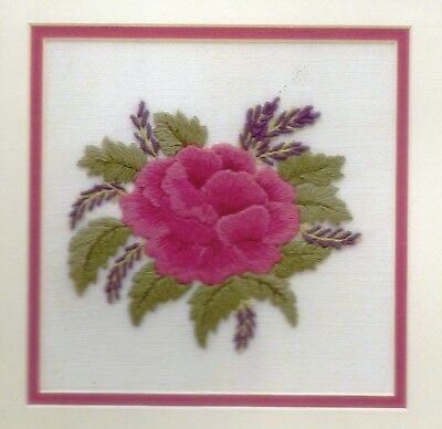 'Rose and Lavender' a crewel embroidery kit for beginners