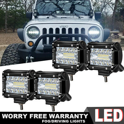 4Pcs 4 inch CREE LED Work Lights Pod Spot Flood for 4WD Offroad Driving Light