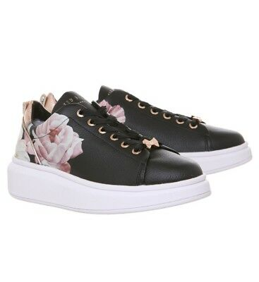 db07c2cb4ec977 Womens Ted Baker Ailbe 2 Sneakers Black Iguazu Leather Trainers Shoes