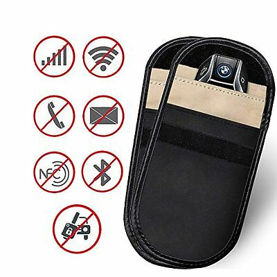 2pc Car Key Signal Blocker Pouch Keyless Entry Faraday Bag Key Fobs Anti-Theft