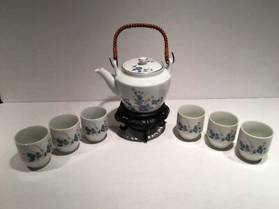 VTG Signed Porcelain Otagiri OMC Flower Gold Trim 8 Piece Saki/ Tea Set Japan