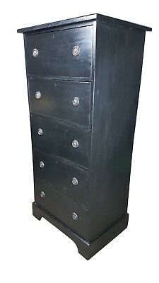 Tall Edwardian Black Painted Pine Chest