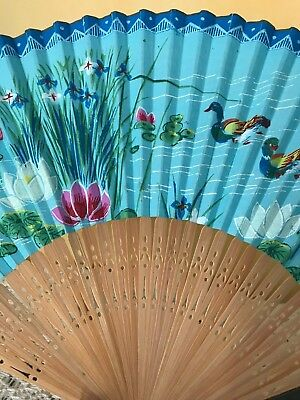 Vintage Hand Fan Ornate Bamboo Paper Painted with Water Scene Ducks 1950's Japan