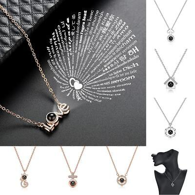 100 Languages Light Projection I Love You Pendant Necklace Lovers Dangle Jewelry