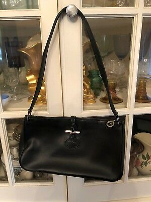 LONGCHAMP VINTAGE CROC Embossed Black Leather Roseau Crossbody ... 53a88fe2f7bcb