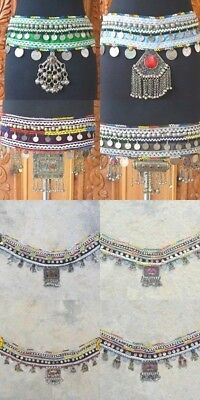 Ethnic Kuchi Afghan Gypsy Tribal Fusion ATS Belly Dance Boho Coins Buttons Belt