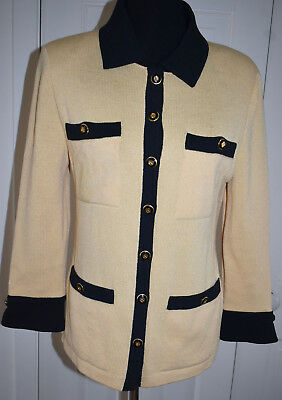 St John Collection Blazer Jacket Yellow With Black Trim St John Buttons Size 6