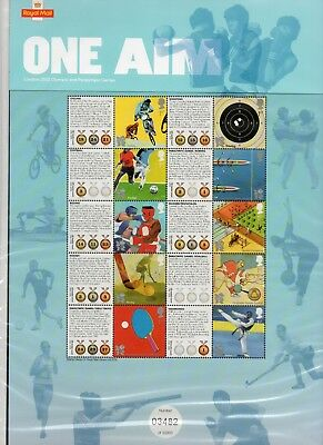 GB 2010 One Aim smiler sheet MNH stamps. Includes insert. VGC Free postage!!