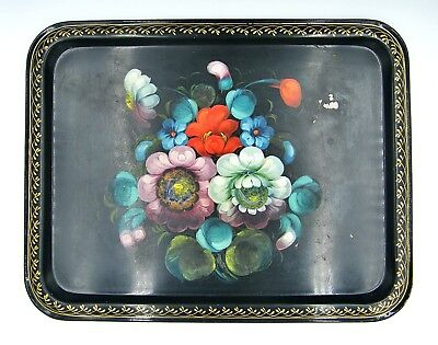 Beautiful Vintage ZHOSTOVO Hand Painted Tray - Made in USSR - Russian Folk Art