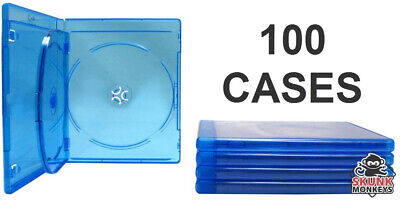 New (100) Empty Blu-Ray DVD Case 12mm 3-Disc Triple With Logo Replacement Cases