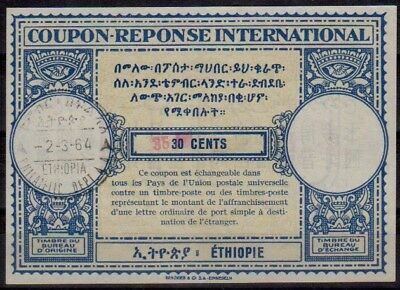 ETHIOPIA 1964 type XV surcharged Int. Reply Coupon Reponse Antwortschein IRC IAS