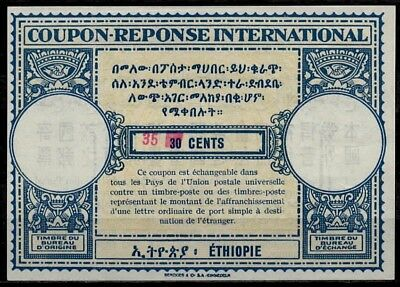 ETHIOPIA 1964 type XV surcharged Int. Reply Coupon Reponse Antwortschein IRC **
