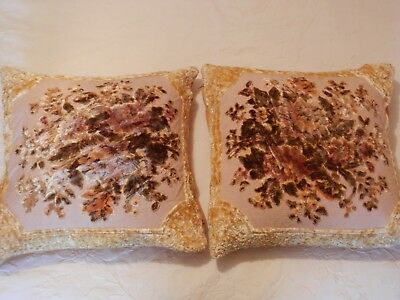 Vintage Golden Floral Cut Velvet Cushions Pair + feather pads, 45 cm square